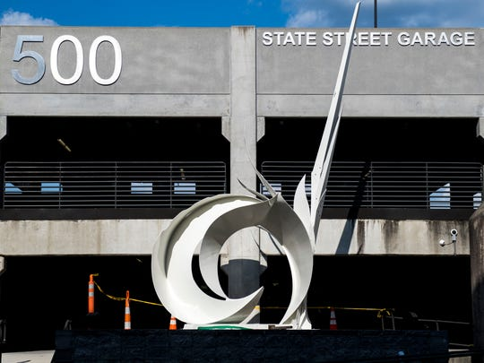 A 3,500-pound formed, fabricated and painted steel sculpture was recently installed in front of the State Street Garage in downtown Knoxville.
