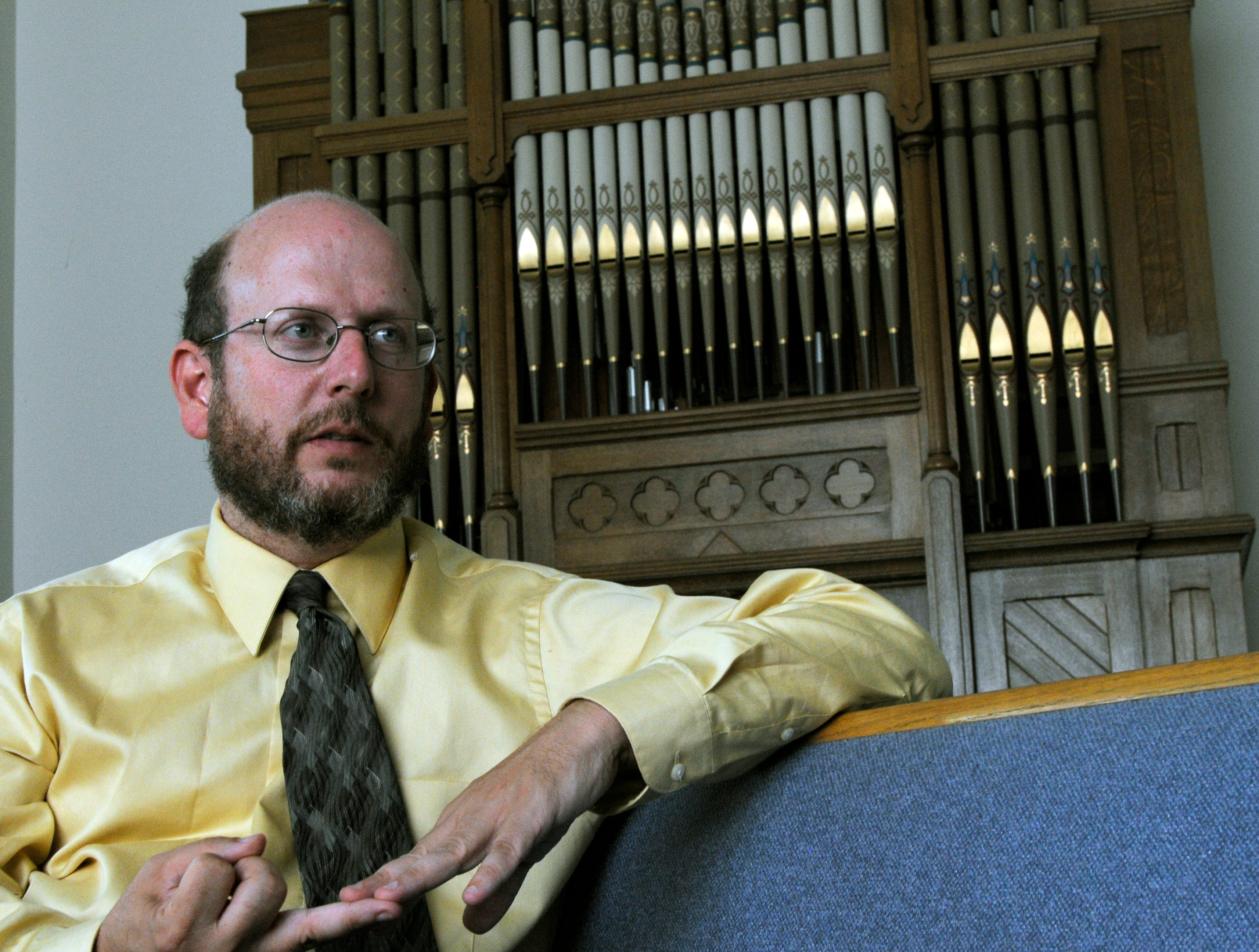 Chris Buice, pastor of the Tennessee Valley Unitarian Universalist Church, talked to the News Sentinel Wednesday afternoon at the church.