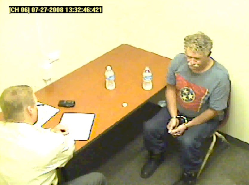Accused Tennessee Valley Unitarian Universalist Church gunman Jim D. Adkisson is interviewed by Knoxville Police Department Investigator Steve Still on July 27, 2008.