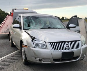 This car struck and killed Danielle Crawford, who was walking early Sunday in the middle of the road on I-65. Police are attempting to find her family.