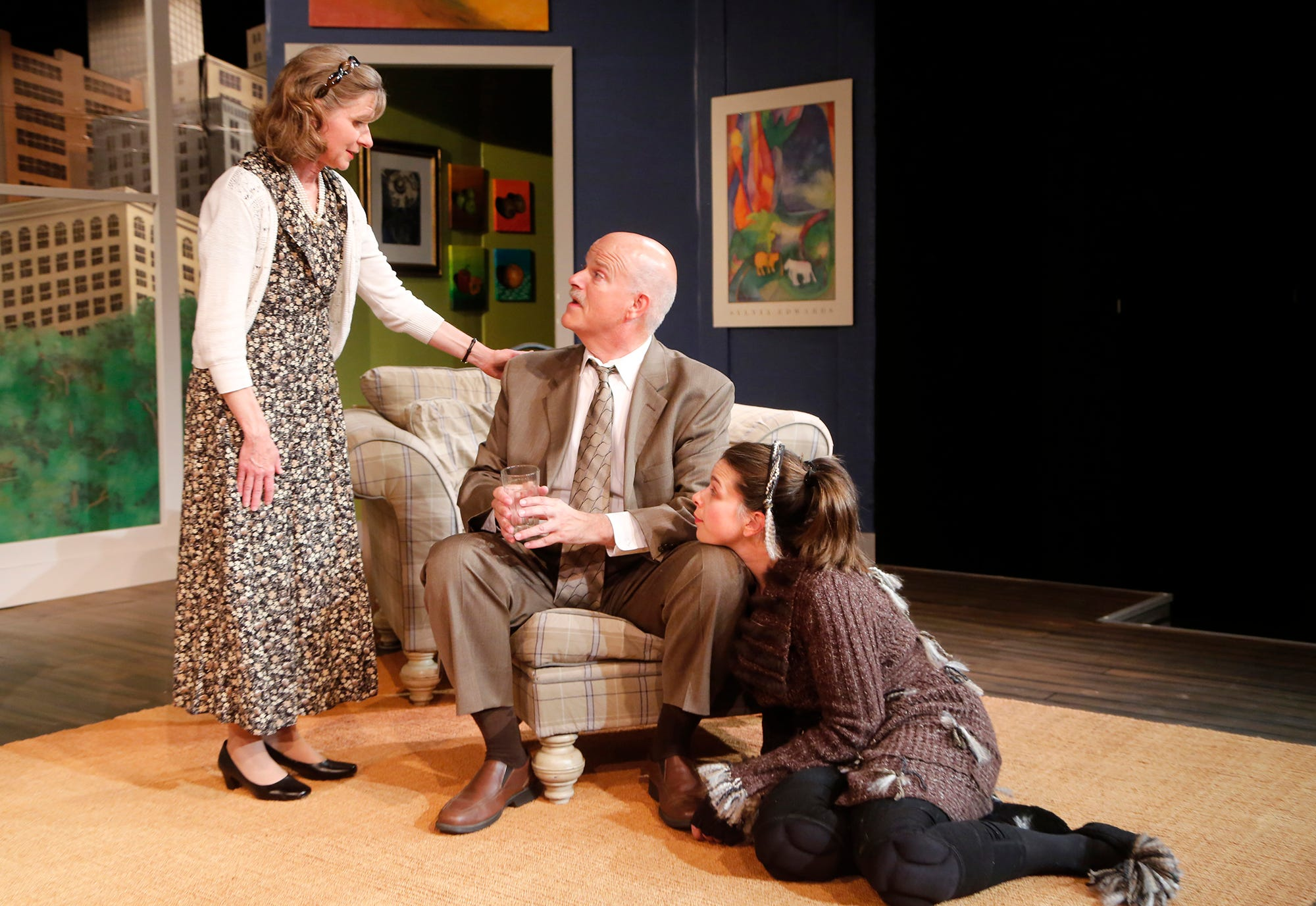"Laura Gorden, from left, as Kate, Larry Sommers as Greg and Sara Tyner as Sylvia during rehearsal for Civic Theatre of Greater Lafayette's production of ""Sylvia"" at the Monon Depot Theater. ""Sylvia"" is directed by John Collier."