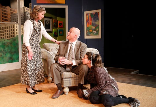 """Laura Gorden, from left, as Kate, Larry Sommers as Greg and Sara Tyner as Sylvia during rehearsal for Civic Theatre of Greater Lafayette's production of """"Sylvia"""" at the Monon Depot Theater. """"Sylvia"""" is directed by John Collier."""