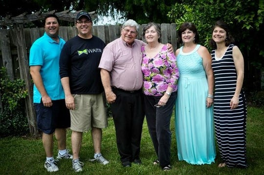 The Mire family enjoy a family reunion in 2015. From left are Chris Mire, Jude Mire, Paul Mire, Beverly Mire, Maria Benoit and Paula Sarver.