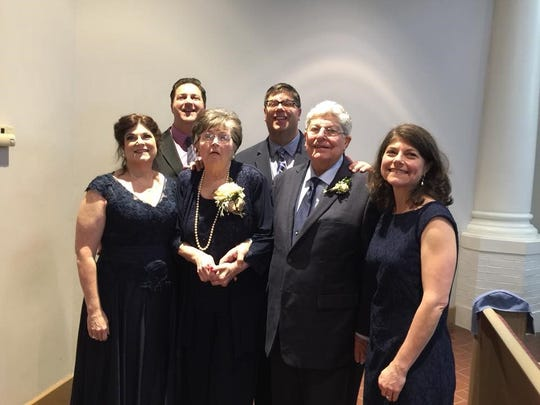 At a family wedding in April 2018 are, in front from left, Maria Benoit, Beverly Mire, Paul Mire and Paula Sarver, and in back, Chris Mire and Jude Mire.
