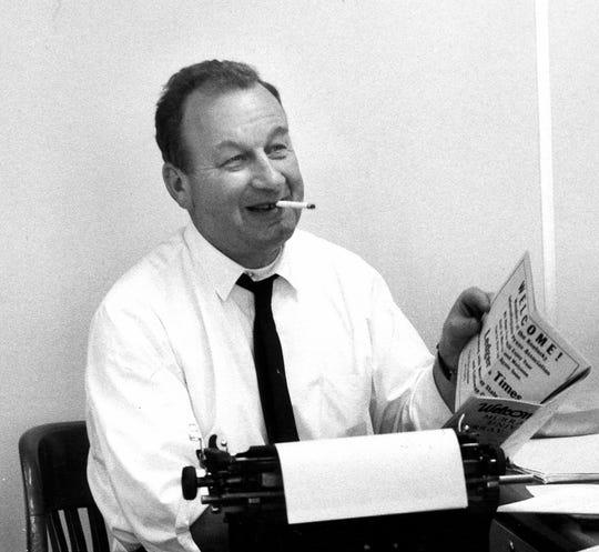 John Fetterman at his typewriter