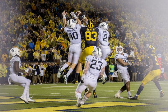 Michigan State defenders swarmed Oct. 7, 2017 a last-second Michigan pass into the end zone during the game's fourth quarter at Michigan Stadium in Ann Arbor. The Spartans won 14-10.