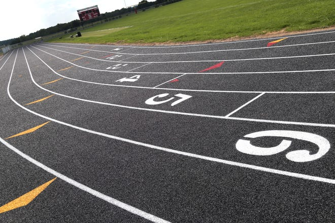 For the first time in the school's history, students at Plymouth can now enjoy an all-weather track that surrounds their football field.