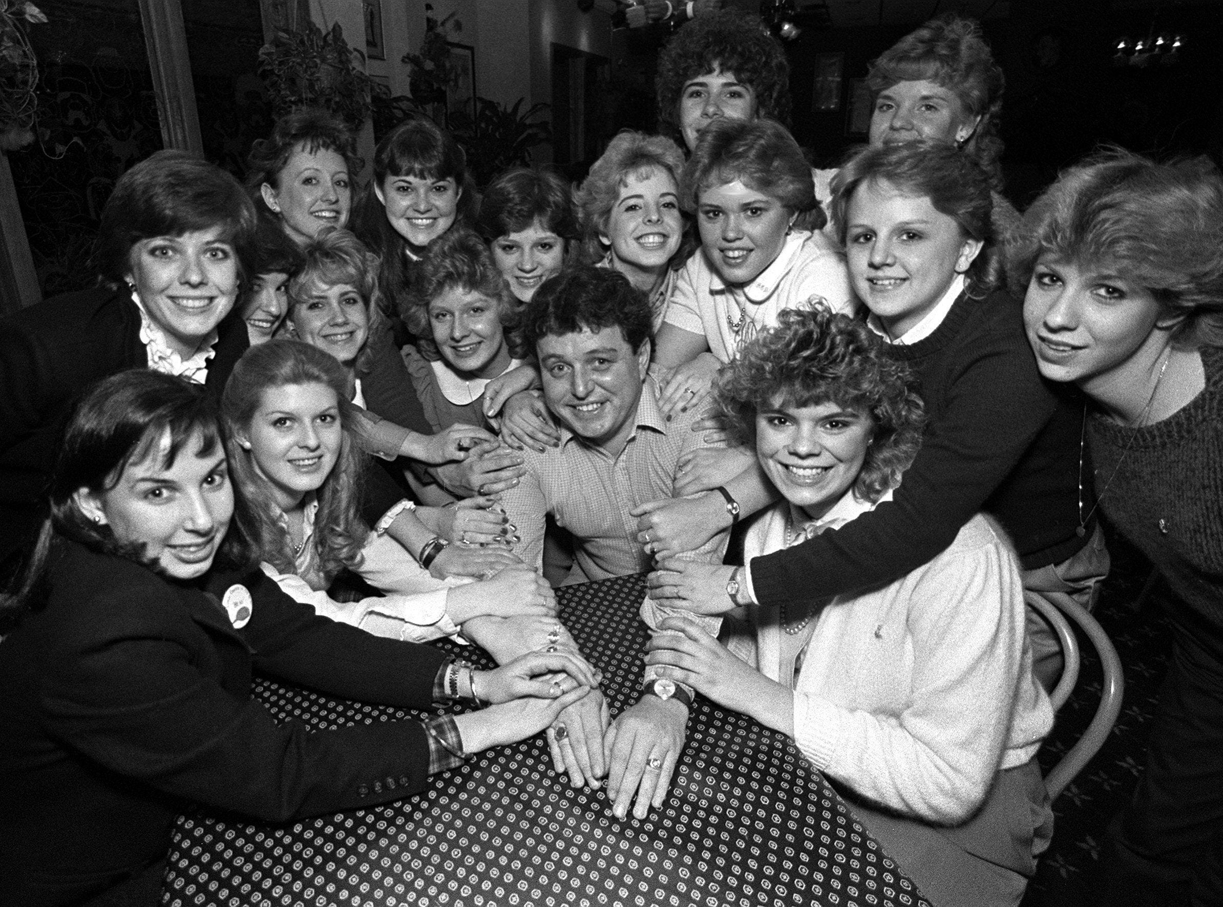 Jerry Mathers, who portrayed the clean-cut youngster Theodore ?Beaver? Cleaver in 234 episodes of ?Leave It to Beaver? from 1957 to 1963, is surrounded by members of the Delta Gamma Sorority from Memphis State University at People?s Restaurant in Park Place Plaza in February 1984. Mathers was in town to speak at the University Center, and Delta Gamma was one of the sponsors.