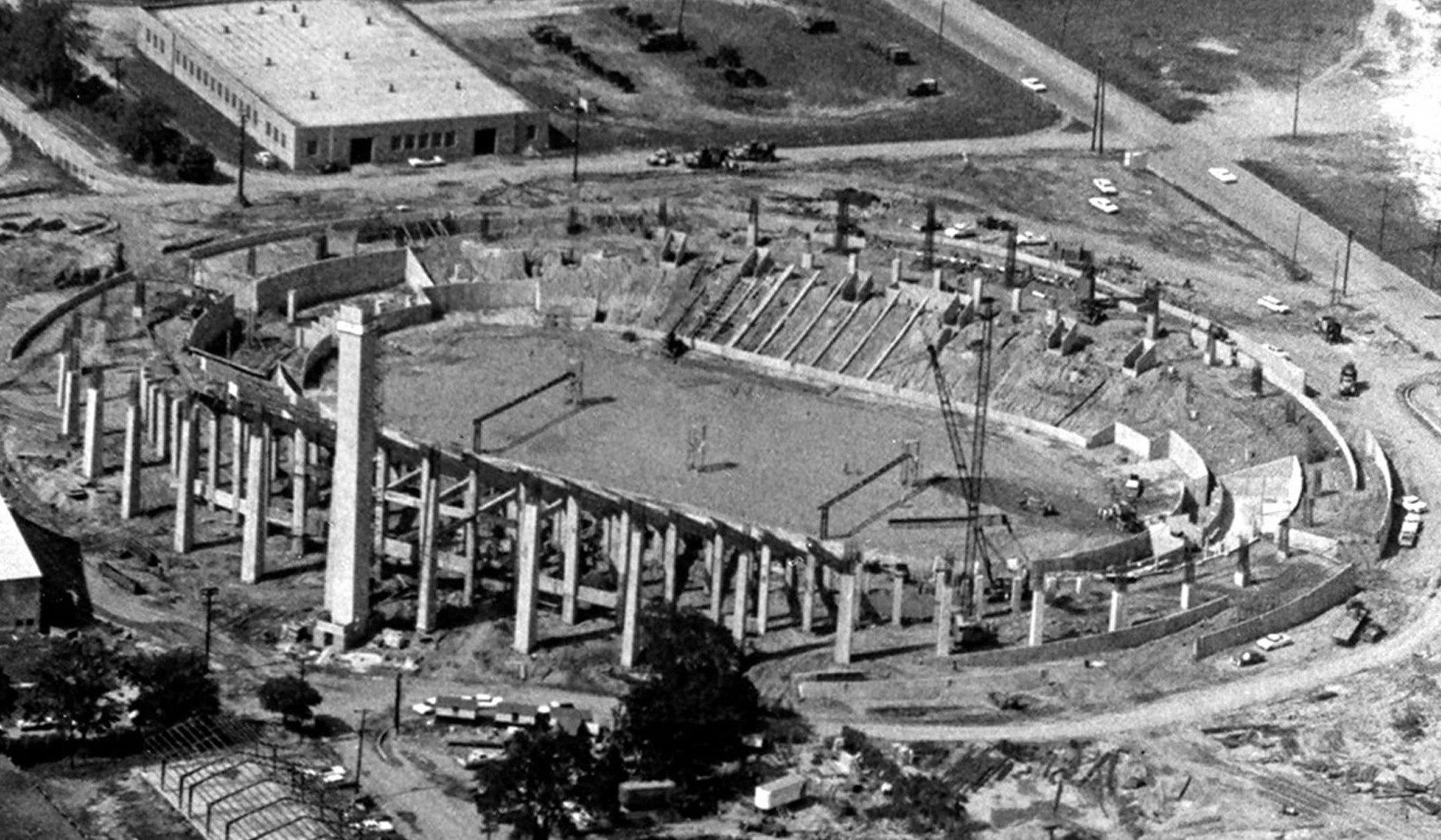 Memphis Memorial Stadium, later to be named Liberty Bowl, rises out of the ground at the Mid-South Fairgrounds in 1964. It opened in 1965 at a cost of $3.7 million.