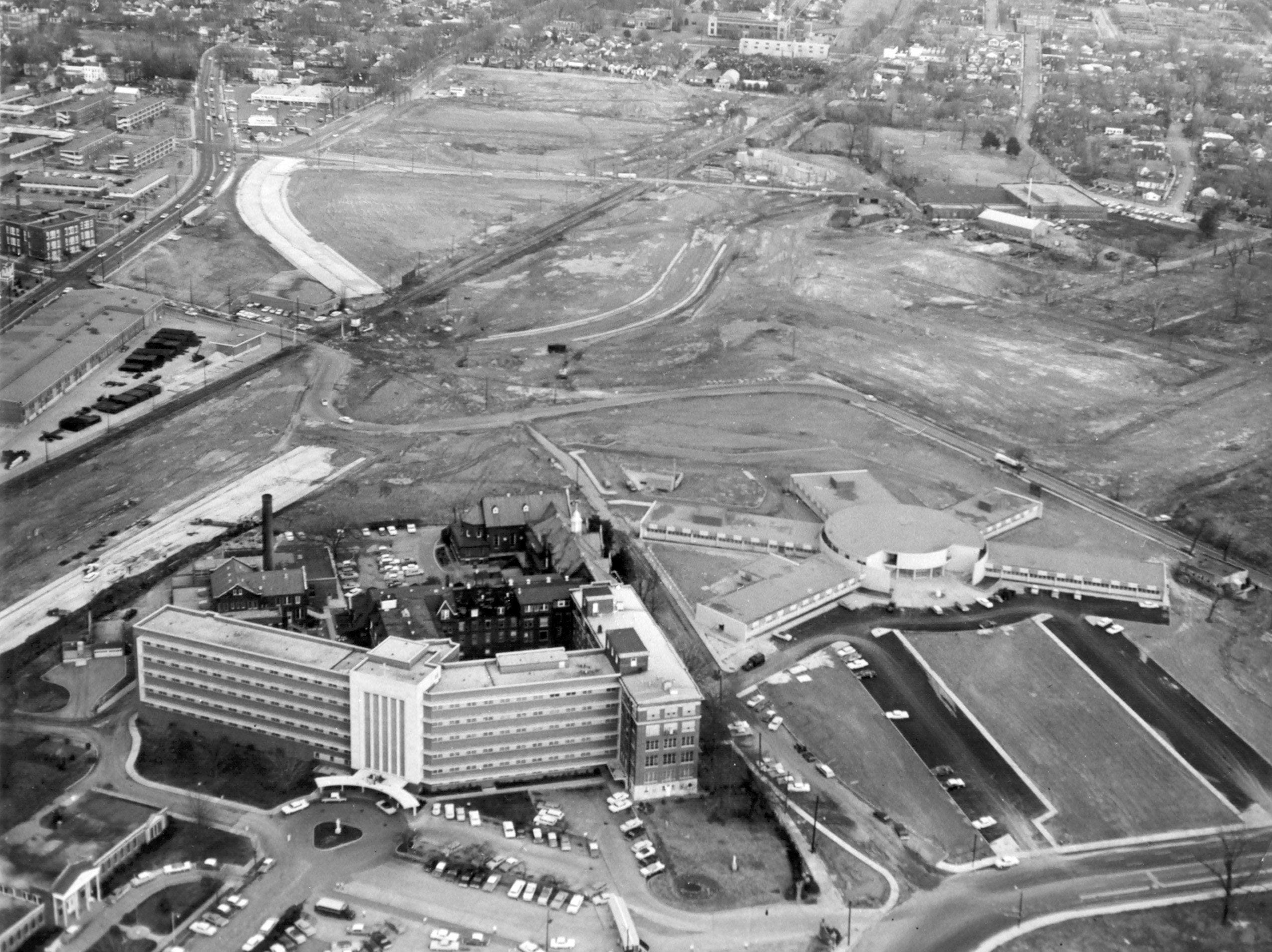 St. Francis Hospital, left, and St. Jude Children's Research Hospital stand together in the Jackson Avenue urban renewal area in this aerial image from December 1961.