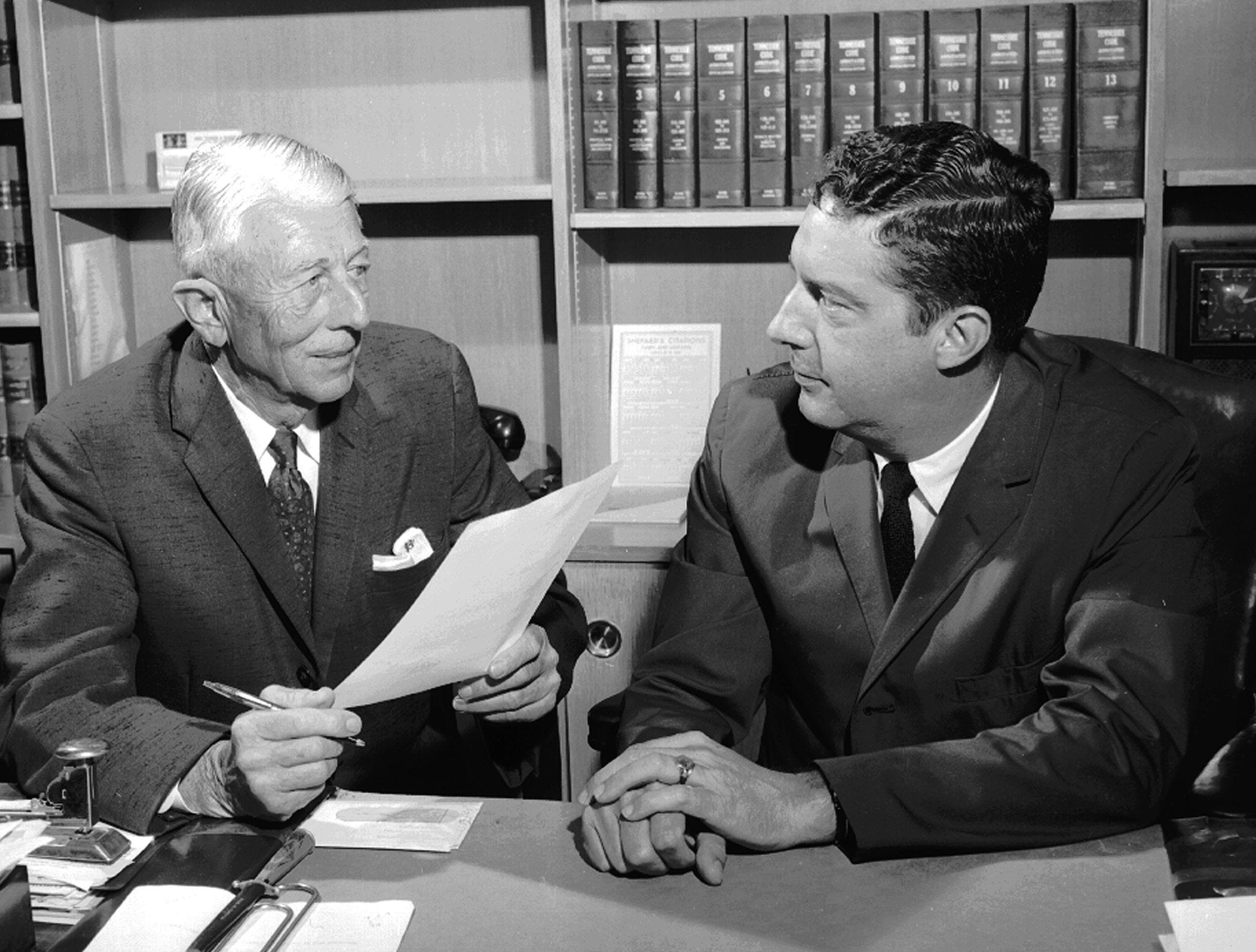 The subject was the grand jury when jury foreman William F. Bowld (left) and Attorney General Phil Canale met on June 26, 1962.