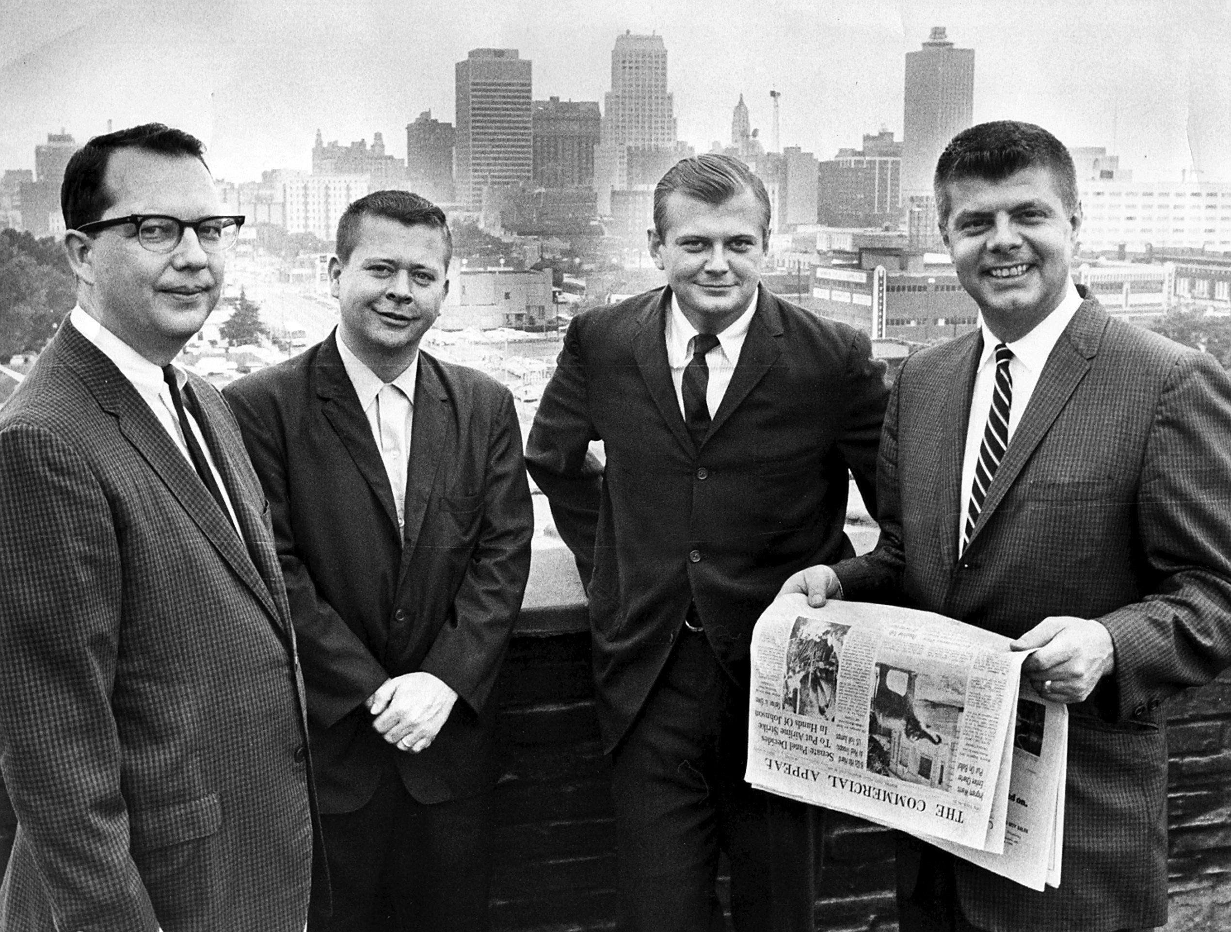 News executives named to new staff positions in July 1966 by Frank R. Ahlgren, editor of The Commercial Appeal, are (from left) James Kilpatrick, night city editor; Kyle Griffin, sports news editor; Angus G. McEachran Jr., assistant city editor; and Granville Allison Jr., city editor.
