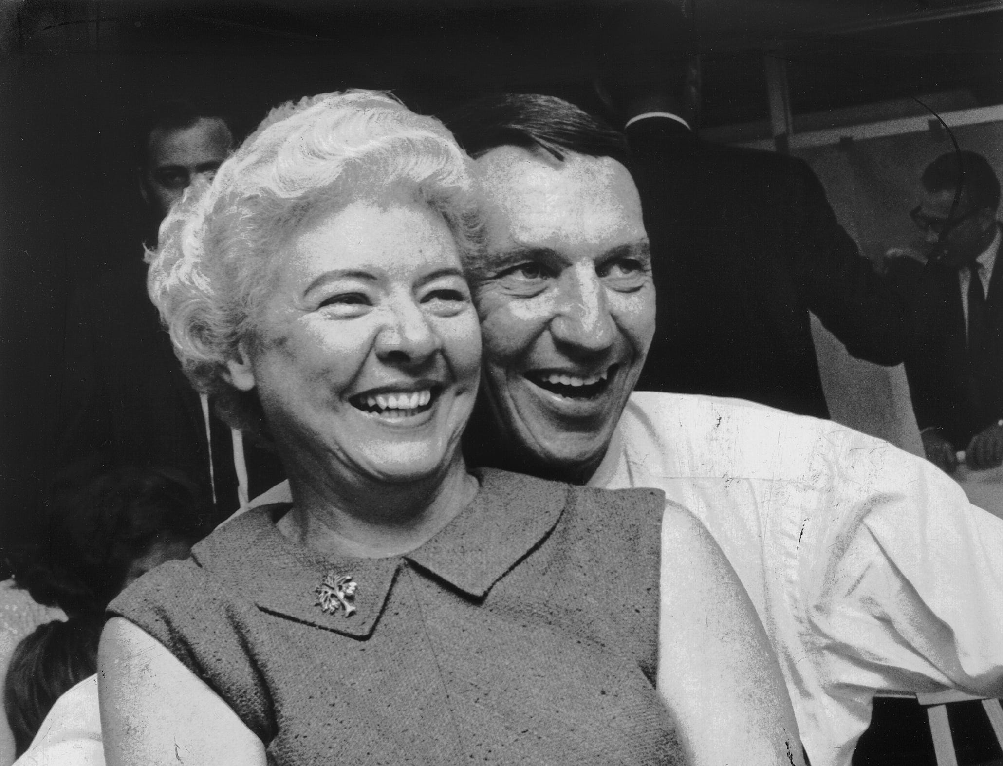 Janet and Downing Pryor were all smiles as they embraced at his campaign headquarters on October 6, 1967, as he led his race for City Council, Position 6 At Large. He apparently will face Tracey Rainey in the November 2 runoff. Other leading vote getters were Jerred Blanchard, Lewis Donelson III and Robert James, who won without a runoff.