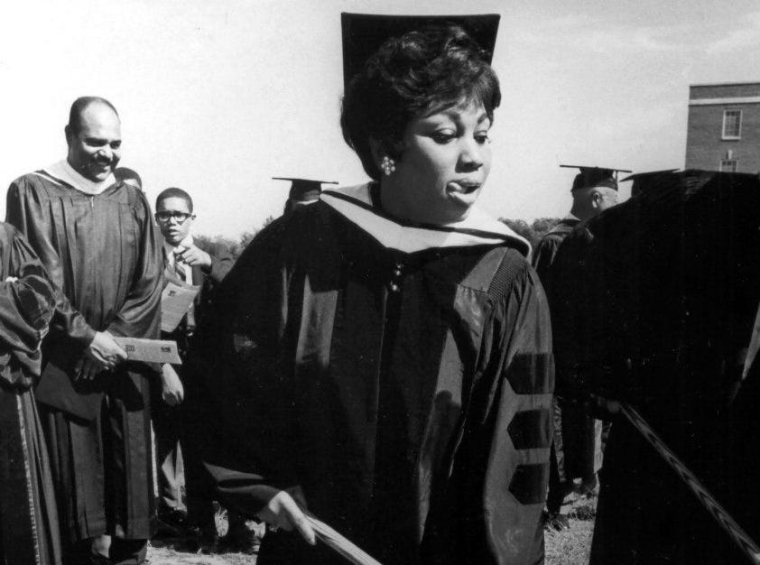 Metropolitan Opera star Leontyne Price was awarded an honorary doctor of humane letters degree on Oct. 20, 1968, by the trustees of Rust College in Holly Springs, Miss. Price helped in the ground- breaking ceremonies for a new library (model at left). The Mississippi-born soprano?s mother once attended the school, and Miss Price is co-chairman of the school?s Upward Thrust Campaign, a drive to raise $500,000 for school expansion.