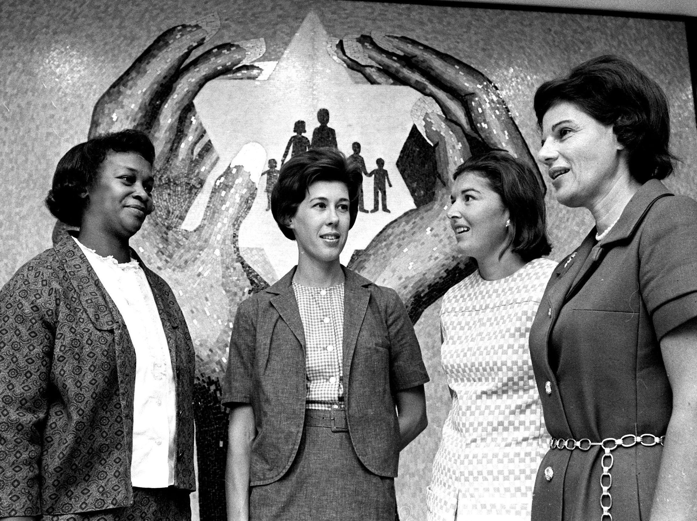 Meeting to discuss the organization of the Memphis Panel of American Women in September 1968 were (from left) Mrs. Elsie Rambo, Mrs. James C. Blackburn, Mrs. Frank Jones and Mrs. Sydney Geiger of Jackson, Miss., who led some of the discussions.  The group met at the Jewish Community Center at 6560 Poplar Avenue.