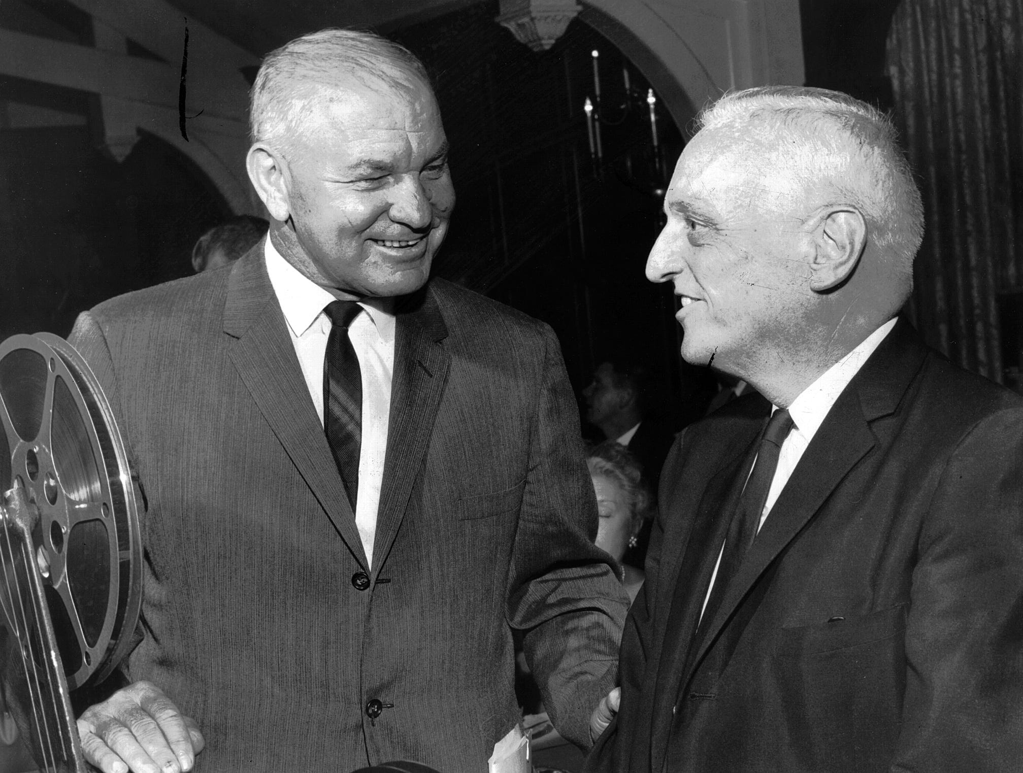 The subject was football, Ole Miss football, when Ole Miss head coach John Vaught (left) and Dr. Ferrell Varner got together on Dec. 8, 1964. Vaught coached the Rebels in four decades. Varner was a longtime team doctor during the Vaught era.