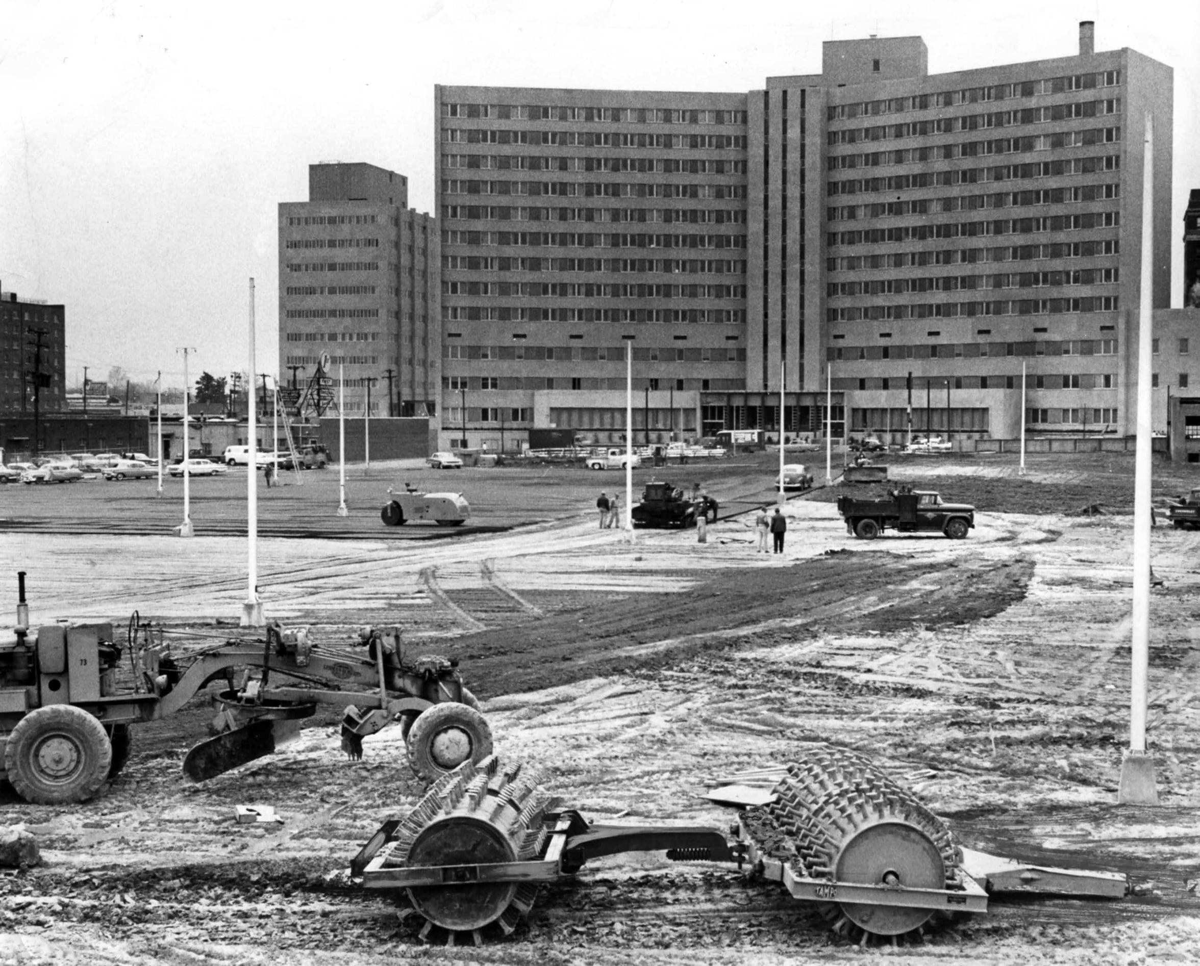 In February 1961, a parking lot was in the final stages of development at the former site of Russwood Park, which was destroyed by an Easter Sunday fire on April 17, 1960. Baptist Hospital stands on Madison Avenue in the background.