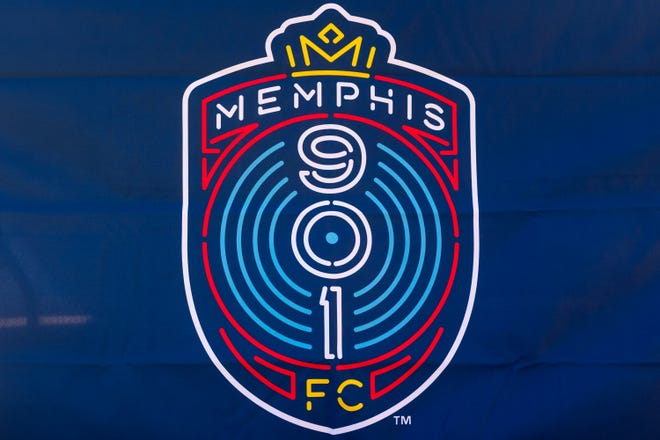 The Memphis 901 FC logo is displayed promenently at Autozone Park, where the soccer team will play its games.