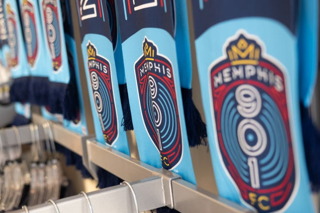 Many merchandise items featuring the Memphis 901 FC logo or on sale inside the shop at Autozone Park.
