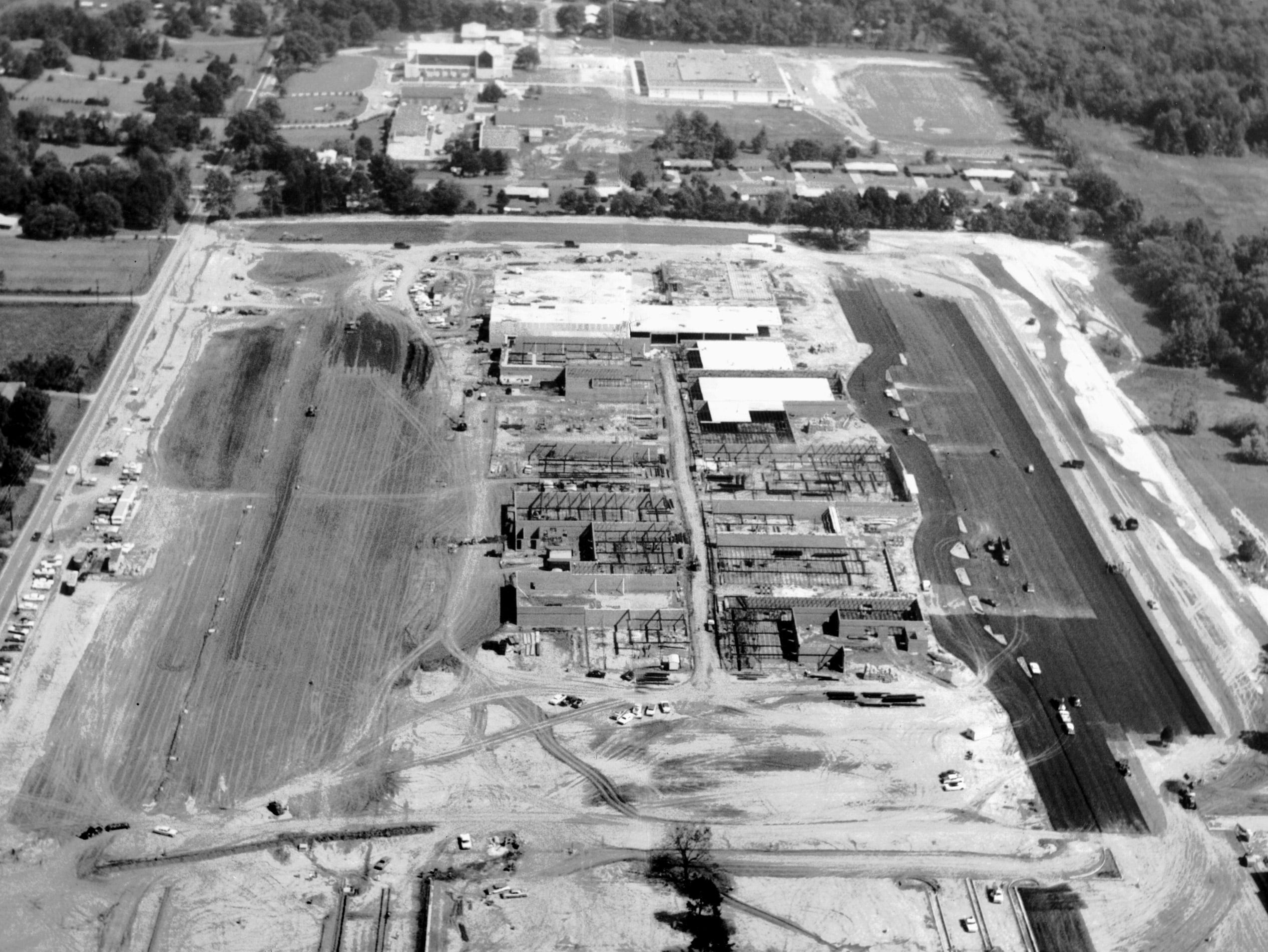 Southland Mall was rising out of the Whitehaven landscape in fall 1965 as seen in this photograph on Oct. 25 of that year. Shelby Drive runs top to bottom at far left, and U.S. 51 moves left to right at extreme bottom of photograph.