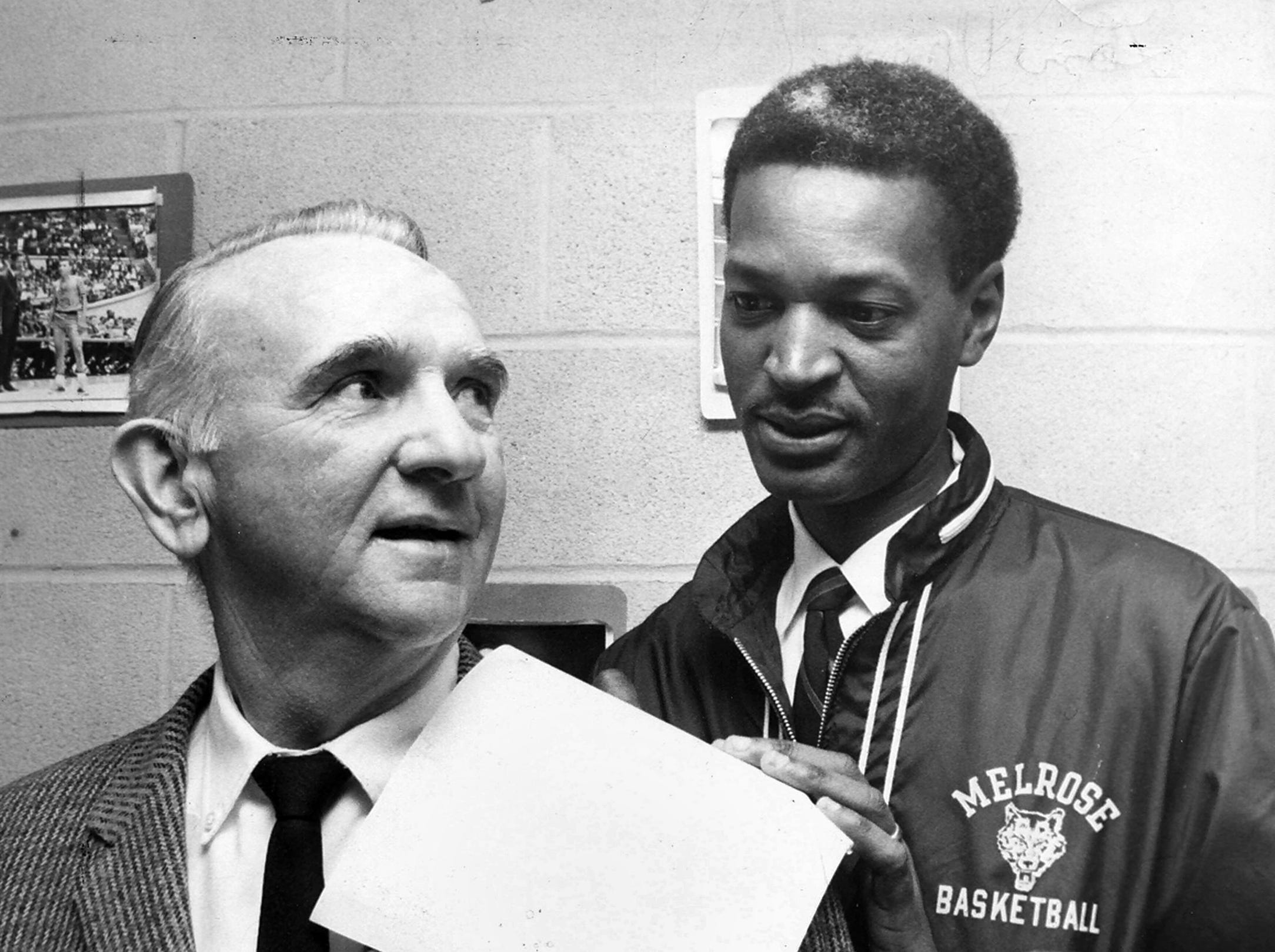 Melrose coach Williams Collins (right) agreed on Jan. 14, 1969, to take his unbeaten high-scoring Wildcats to Nashville to play one of Nashville's three ranked teams on Feb. 1. Promoter Lon Varnell (left) said that an opponent for Melrose would be announced.