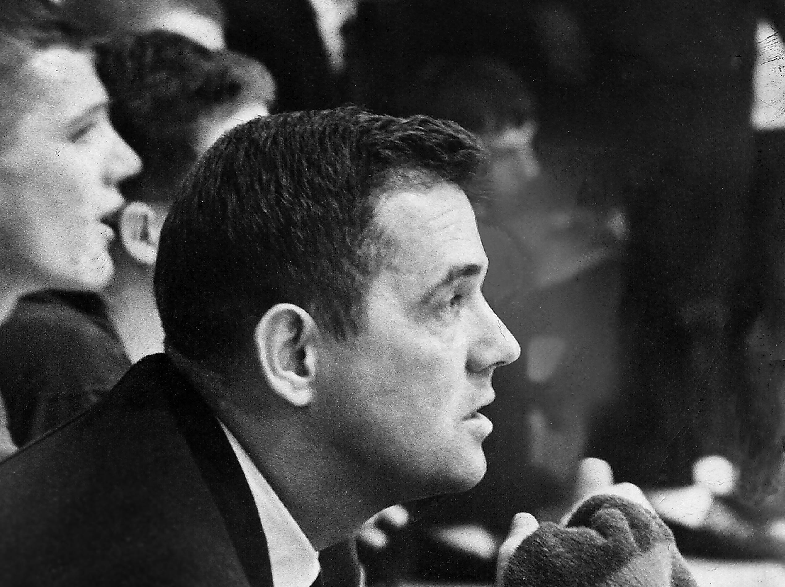 Kingsbury coach Bill Todd was a picture of concentration on Jan. 25, 1963, as he saw an 11-point lead dwindle to four as the final buzzer sounded, hanging on for a 64-60 Prep League basketball victory over Frayser in the battle of division leaders that marked the completion of the inter-divisional round. Mike Butler scored 25 points for the Falcons, who won their 13th straight game to remain the only undefeated team in the league and atop the Eastern Division. Frayser remained ahead in the Western Division.