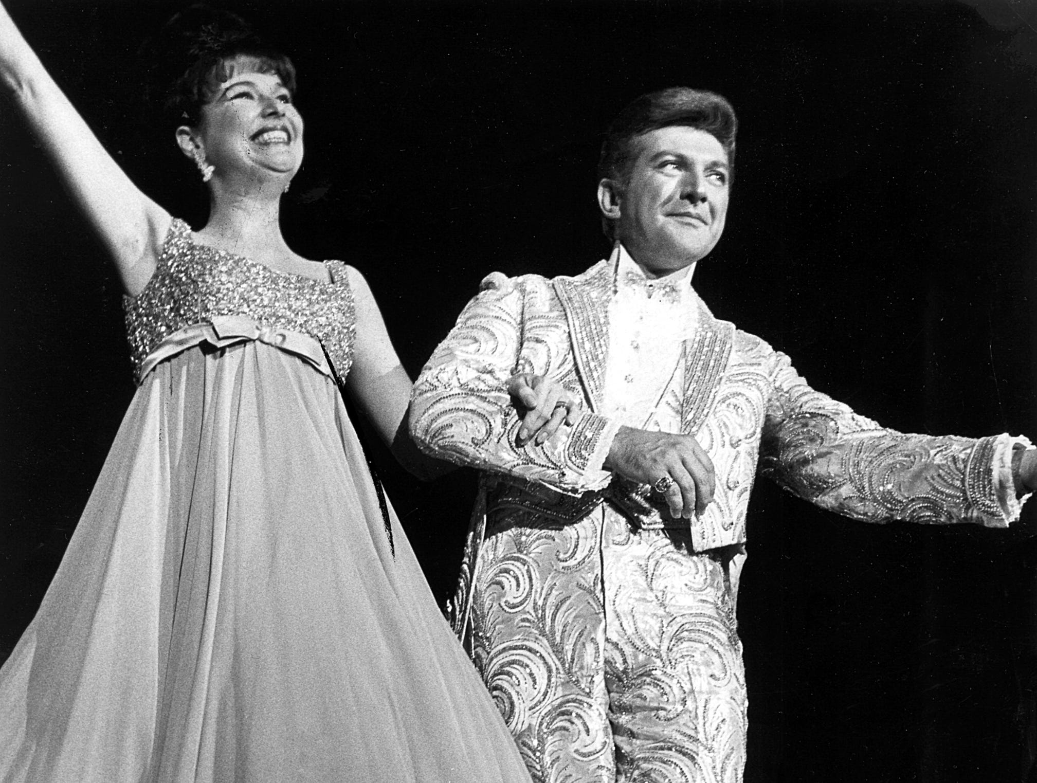 December 1965 - Liberace brought his flamboyant style and talent to Memphis in December 1965. Here he is with Karen Wessler.