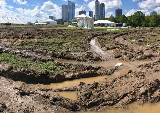 Veterans Park is a field of mud and deep ruts following the Harley celebration and heavy rains.