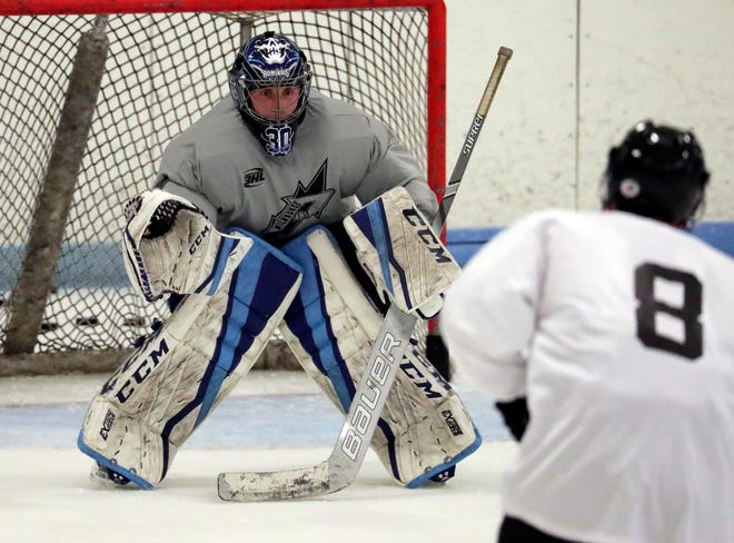 Goalie Aaron Dickstein practices recently with the Milwaukee Power at Wilson Ice Arena, the new Tier III junior team's home.