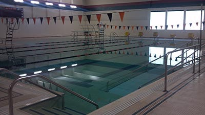 The Grafton High School pool is awaiting the installation of a new boiler to heat it. In the meantime, the girls swim team at Grafton High School is using the pool at Homestead High School.