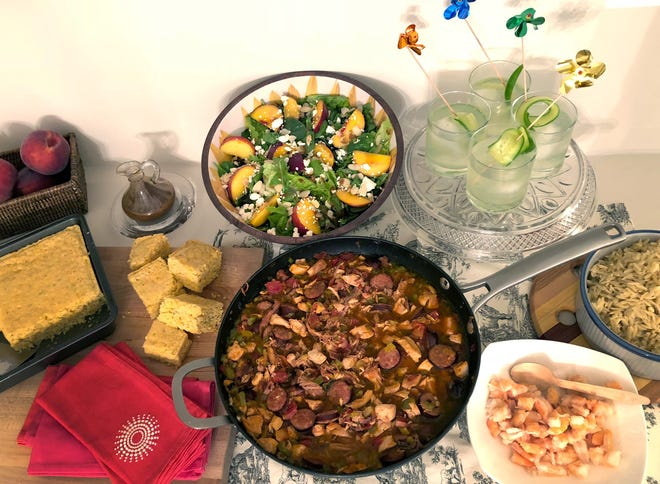Heaven on Seven Corn Bread, peach salad, Grace Note cocktails and a version of jambalaya (served over orzo pasta, shrimp optional) make for an appealing New Orleans-themed dinner.