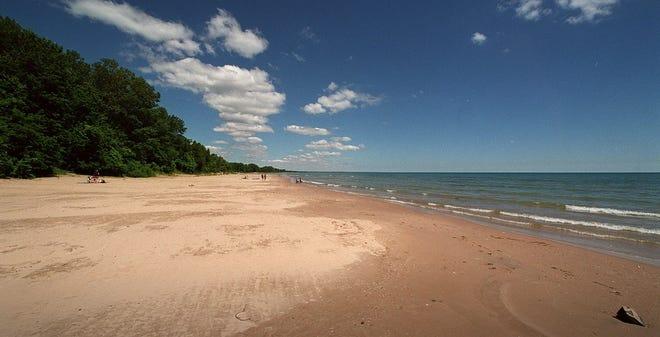 The Lake Michigan beach at Harrington Beach State Park in northern Ozaukee County.