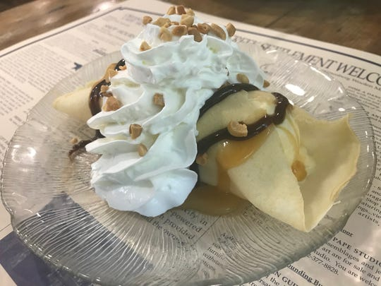 A favorite dessert crepe is the X-Quisite with vanilla frozen custard wrapped in a crepe topped with caramel, hot fudge, whipped cream and nuts.