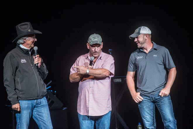 "Buckmasters founder Jackie Bushman, left, with Troy and Jacob Landry of TV's ""Swamp People"" during Buckmasters presentations at the Montgomery Performing Arts Centre on Saturday, Aug. 18, 2018."