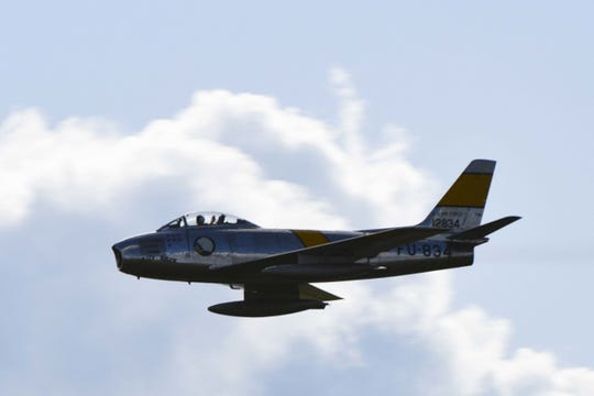 The North American F-86 Sabre, sometimes called the Sabrejet, is a transonic jet fighter aircraft.