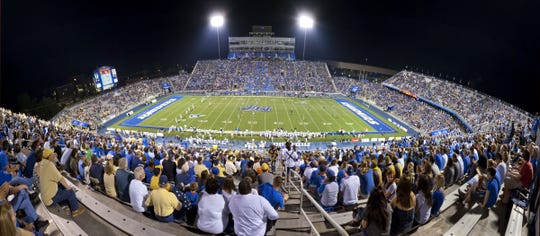 A look at Floyd Stadium during a night game. MTSU will serve beer for the first time on Saturday during the Blue Raiders' home opener against Tennessee-Martin