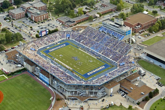 An overhead look at Floyd Stadium on the campus of Middle Tennessee State University. MTSU has implemented a clear bag policy for the 2019 season.