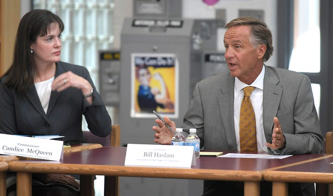 Tennessee Commissioner of Education Candice McQueen and Tennessee Gov. Bill Haslam attended the fourth listening tour roundtable discussion on the delivery of the TNReady assessment at Freedom Middle School in Franklin on Sept. 4, 2018.