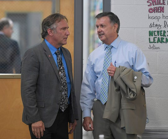 Williamson County Schools Director Mike Looney and FSSD Director David Snowden attend Tennessee Gov. Bill Haslam's fourth listening tour roundtable discussion on the delivery of the TNReady assessment at Freedom Middle School in Franklin on Sept. 4, 2018.