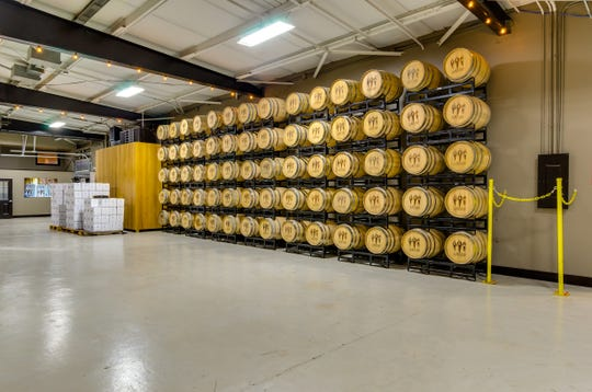 Barrels of liquor at Corsair Distillery's Wedgewood-Houston location.