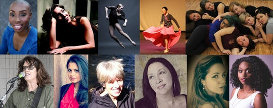 WOMEN'S WORK: Top row l-r: Aleta Myles, comic; Ginger Newman, playwright and vocalist; Erin Kouwe, choreographer; Jen-Jen Lin, choreographer; Blue Moves dance company. Bottom row l-r: Lainie Marsh, playwright and performer; Nishat Mirza, performer; Marilynn Anselmi, playwright; Dawn Larsen, playwright and performer; Arabelle Pollick, playwright and performer; Destiny Stone, playwright and vocalist.