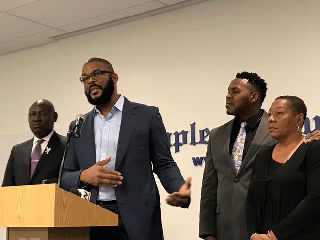 Filmmaker Tyler Perry, second from left, addresses more than 75 people in the Naples Daily News community room Tuesday, Sept. 4, 2018, to announce filing a civil wrongful death suit on behalf of the family of missing man Terrance Williams. Joining Perry were Tallahassee attorney Ben Crump, from left; attorney Chris O'Neal with Crump's firm; and Marcia Williams, the mother of Williams.