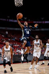 LAS VEGAS, NV - JULY 16: Brandon Goodwin #16 of Memphis Grizzlies goes to the basket against the Portland Trail Blazers during the 2018 Las Vegas Summer League on July 16, 2018 at the Thomas & Mack Center in Las Vegas, Nevada. NOTE TO USER: User expressly acknowledges and agrees that, by downloading and/or using this photograph, user is consenting to the terms and conditions of the Getty Images License Agreement. Mandatory Copyright Notice: Copyright 2018 NBAE (Photo by David Dow/NBAE via Getty Images)