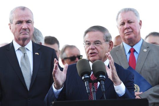 Senator Bob Menendez (D-NJ), shown with Gov. Phil Murphy on left, highlighted the importance of replacing the century-old Portal Bridge hosting trains traveling between Newark, NJ and Penn Station, NY with the Portal North Bridge Project part of the larger Gateway Project. Gov. Murphy held the press conference in Laurel Hill Park in Secaucus on Tuesday, September 4, 2018.