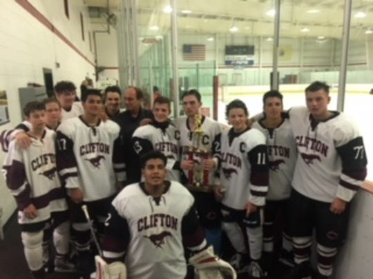 The Clifton Ice Hockey team defeated Mountain Lakes/Boonton 7-3 on Aug. 28 at Floyd Hall Arena to win the Summer High School League championship. The players are ages 14 to 18 and the six-team league started play on July 5. Clifton, the third seed in the playoff tournament, won the title by beating the fourth-seeded Boonton squad. Players are Vincent Petriella, Michael Porter, Sean Sandburg, Dylan Spies, Joseph Wiebe, Pete Wilk, Aaron Moses, Yestin Gormley, James Fusaro, Jaden Fortuna, Jason Finan and Vlasto Ciberji.