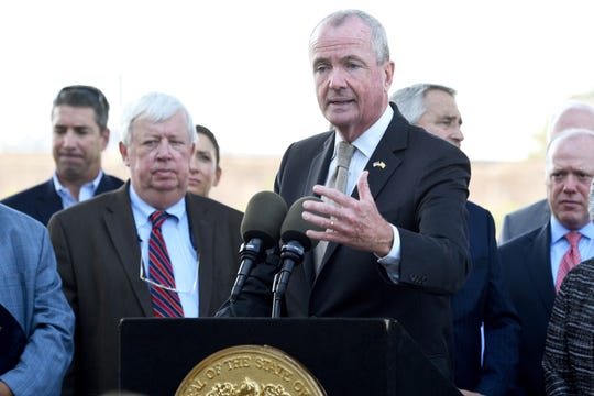 Gov. Phil Murphy, surrounded by elected officials, held a press conference highlighting the importance of replacing the century-old Portal Bridge hosting trains traveling between Newark, NJ and Penn Station, NY with the Portal North Bridge Project part of the larger Gateway Project. The press conference was held in Laurel Hill Park in Secaucus.