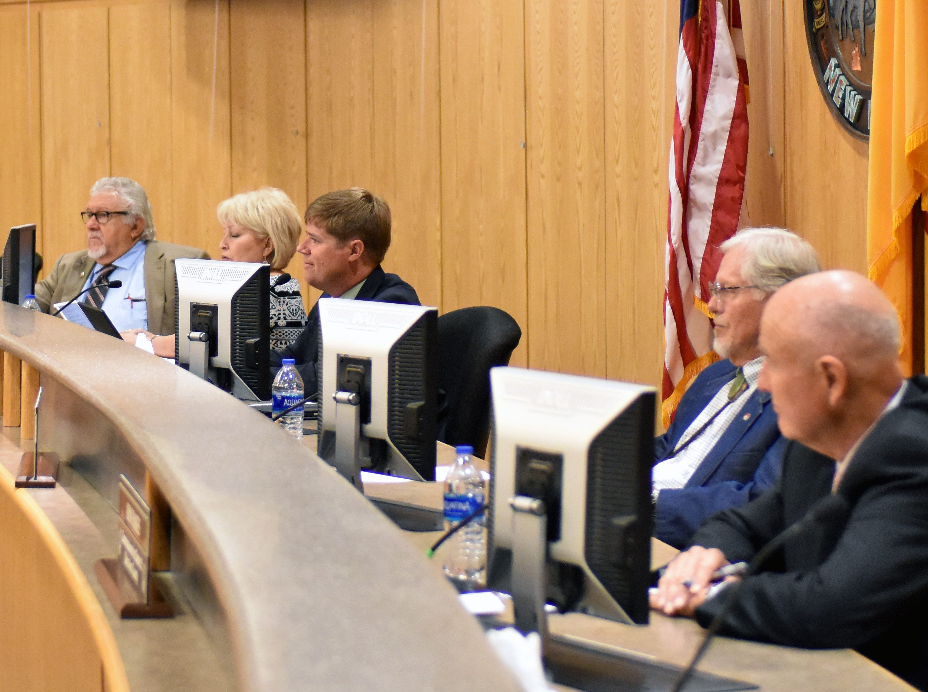 The Doña Ana Board of County Commissioners listens to residents during a special meeting on Tuesday, Sept. 4, 2018, held in regard to a possible straight-party option for voters in New Mexico.