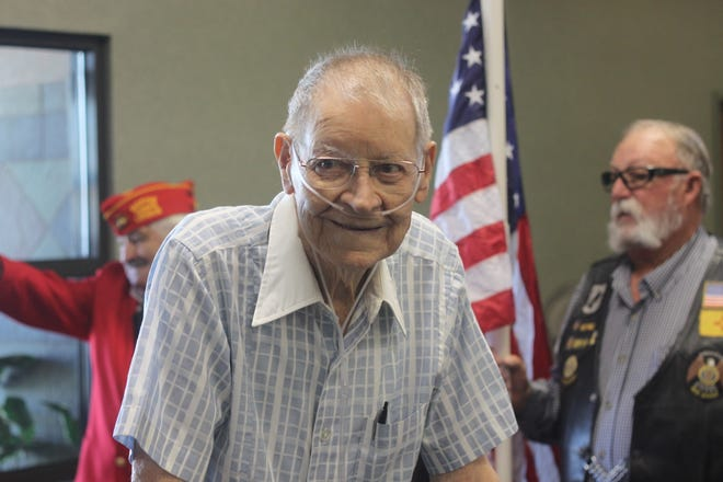 Calvin Strickland, World War II veteran and former Carlsbad math teacher is honored during a ceremony, Sept. 4, 2018 in Carlsbad.