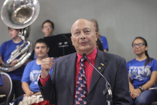 New Mexico Department of Veterans Services Secretary Jack Fox speaks during a ceremony to honor World War II veteran and former Carlsbad math teacher, Sept. 4, 2018 at the Leo Sweet Community Center.
