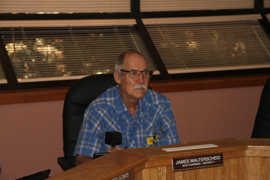District 1 Eddy County Commissioner James Walterscheid served as acting chairman of Tuesday's Eddy County Commission meeting.